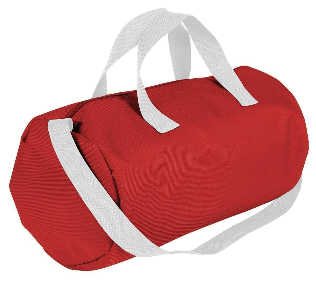 USA Made Nylon Poly Gym Roll Bags, Red-White, ROCX31AAZ4