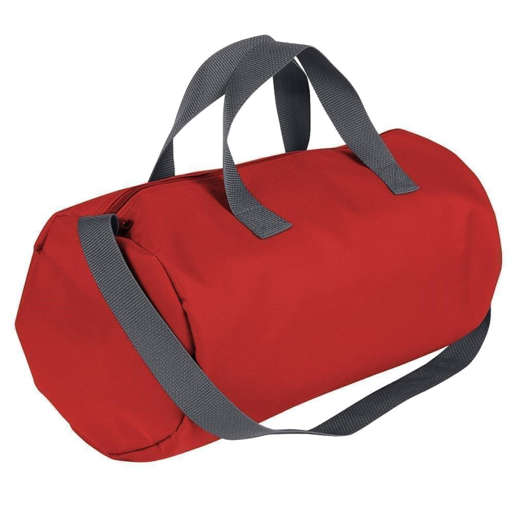USA Made Nylon Poly Gym Roll Bags, Red-Graphite, ROCX31AAZT