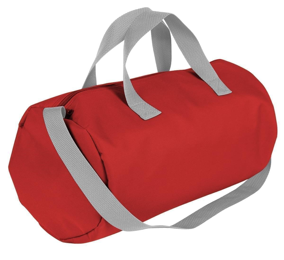 USA Made Nylon Poly Gym Roll Bags, Red-Grey, ROCX31AAZU