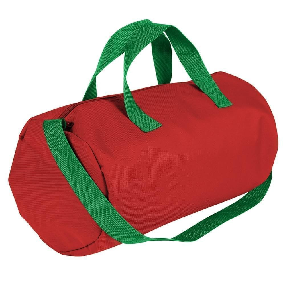USA Made Nylon Poly Gym Roll Bags, Red-Kelly Green, ROCX31AAZW