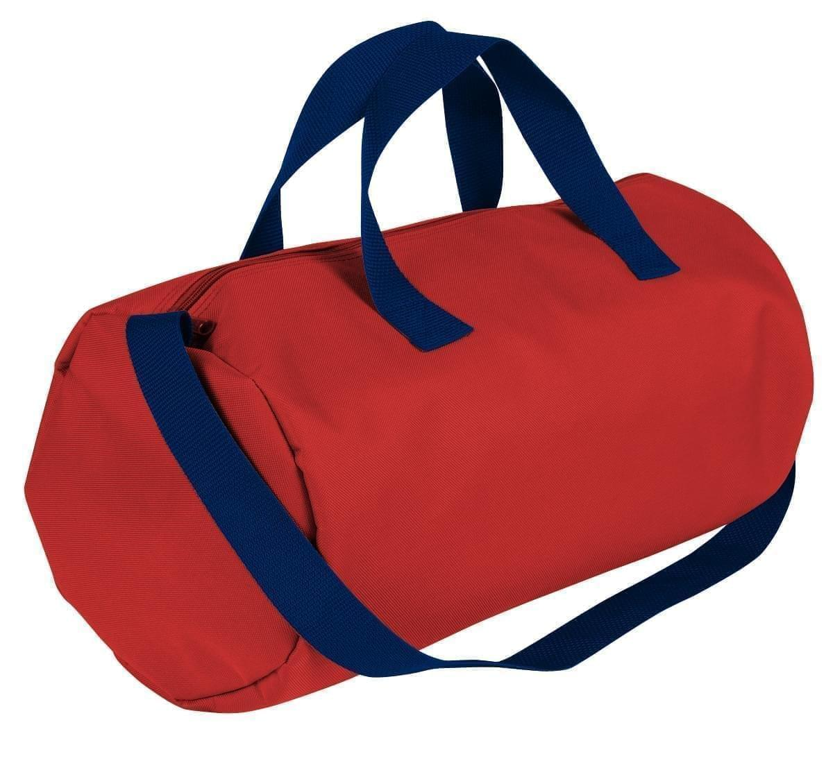 USA Made Nylon Poly Gym Roll Bags, Red-Navy, ROCX31AAZZ