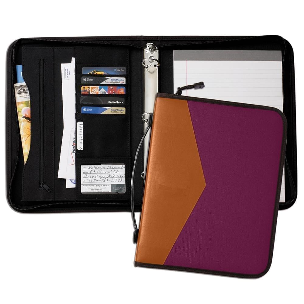 "Tribeca Dual Tone 1"" Zipper Ring Binder with Handle-Matte-Tan / Burgundy"