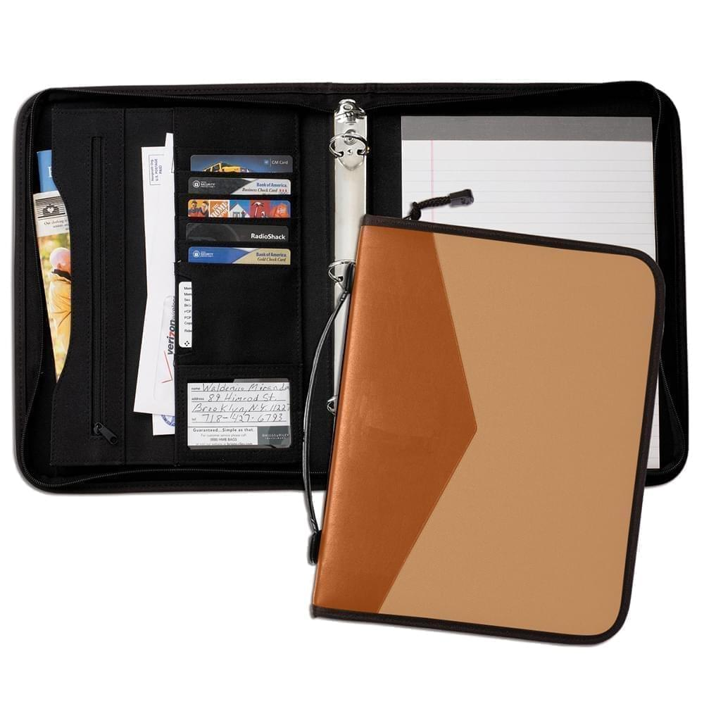 "Tribeca Dual Tone 1"" Zipper Ring Binder with Handle-Matte-Tan / Tan"