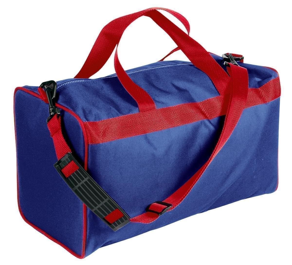 USA Made Nylon Poly Weekend Duffles, Royal Blue-Red, WLKX31AA02