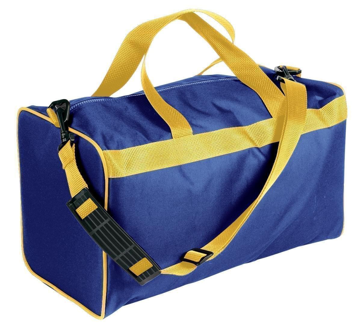 USA Made Nylon Poly Weekend Duffles, Royal Blue-Gold, WLKX31AA05