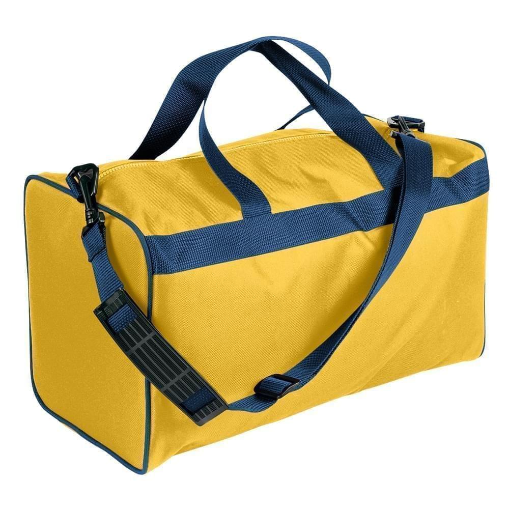 USA Made Nylon Poly Weekend Duffles, Gold-Navy, WLKX31AA4Z
