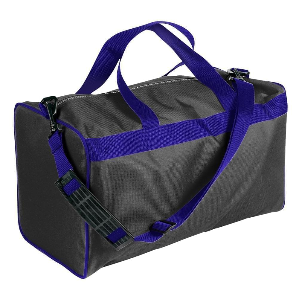 USA Made Nylon Poly Weekend Duffles, Black-Purple, WLKX31AAO1