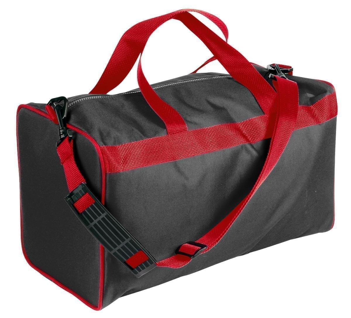 USA Made Nylon Poly Weekend Duffles, Black-Red, WLKX31AAO2