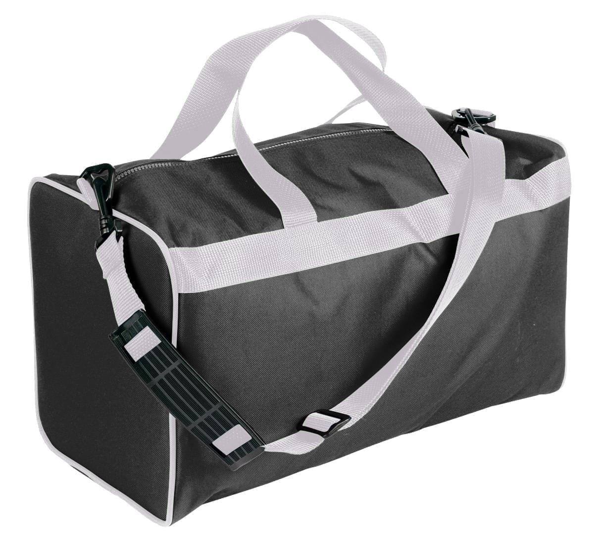 USA Made Nylon Poly Weekend Duffles, Black-White, WLKX31AAO4