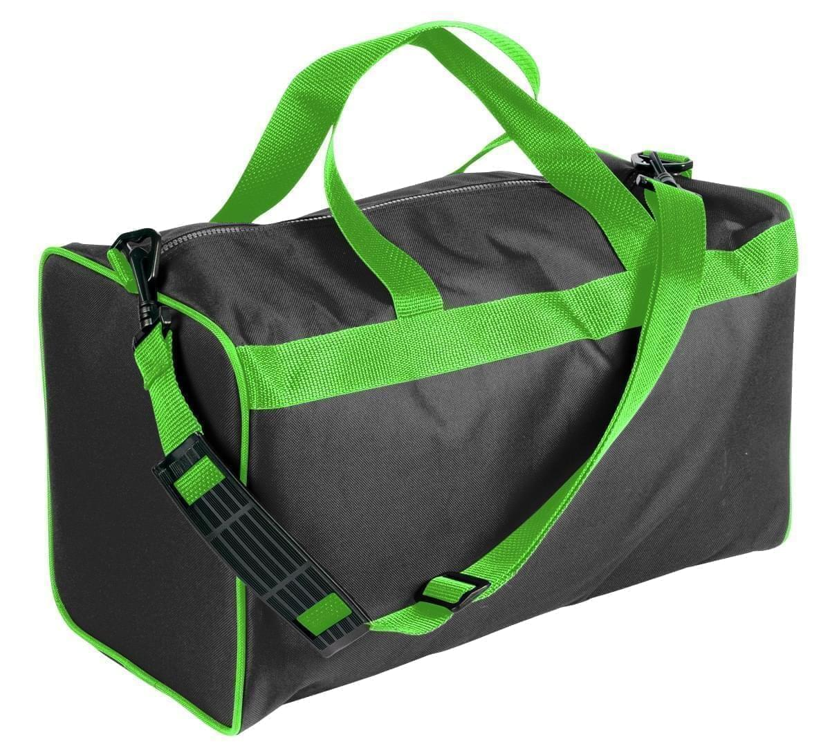 USA Made Nylon Poly Weekend Duffles, Black-Lime, WLKX31AAOY