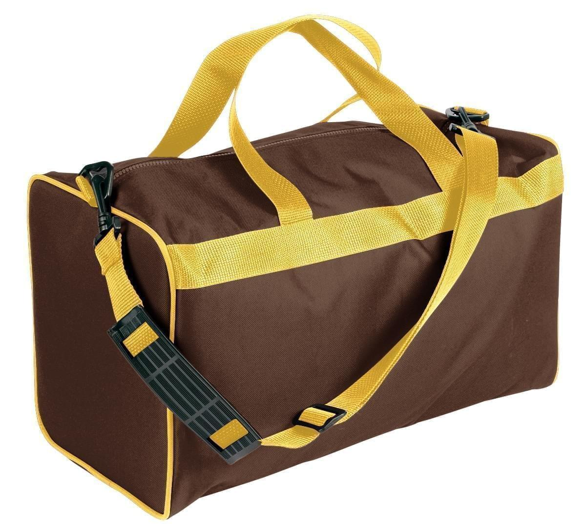 USA Made Nylon Poly Weekend Duffles, Brown-Gold, WLKX31AAP5