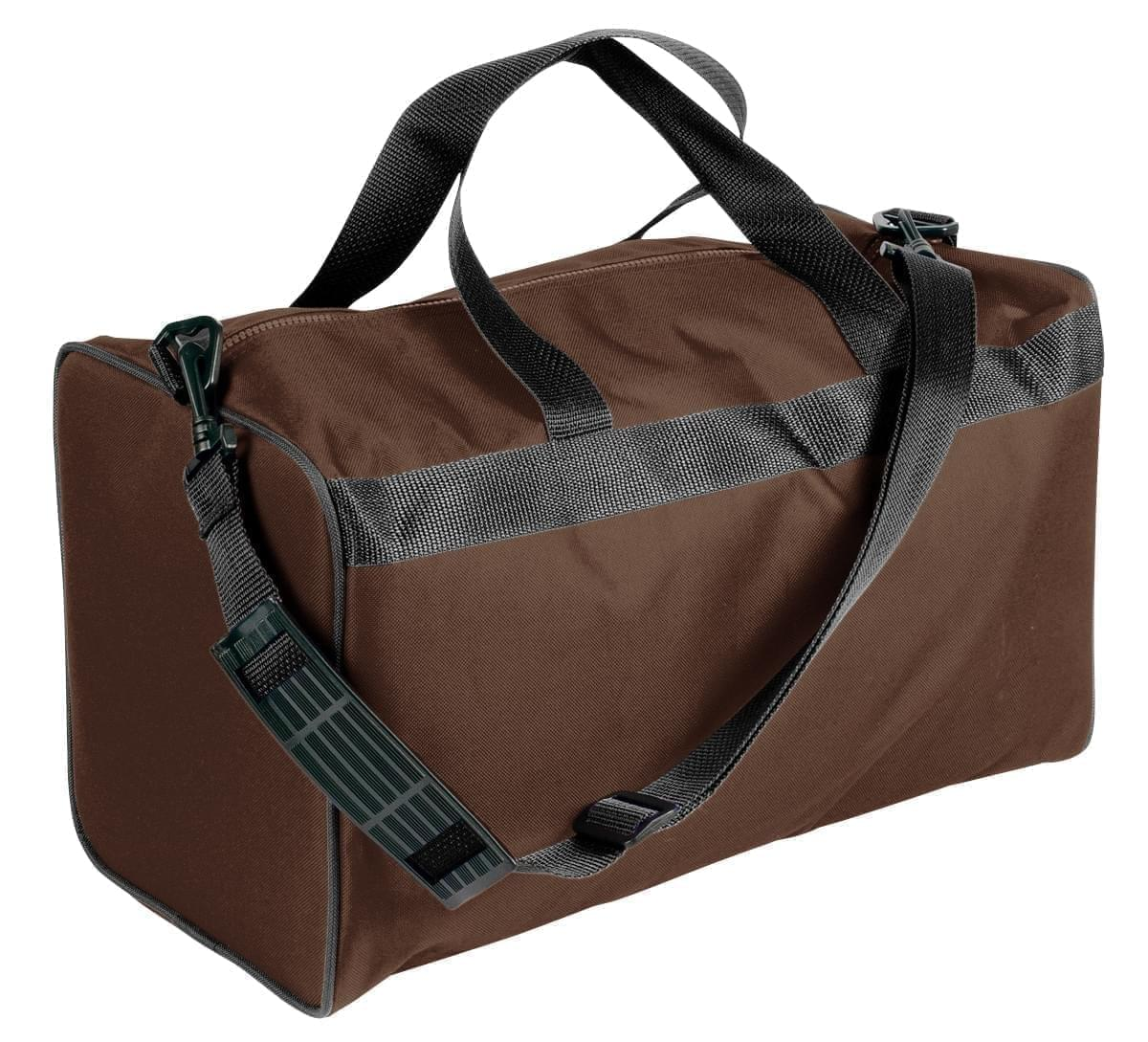 USA Made Nylon Poly Weekend Duffles, Brown-Black, WLKX31AAPR