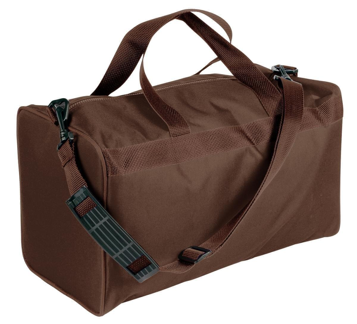 USA Made Nylon Poly Weekend Duffles, Brown-Brown, WLKX31AAPS