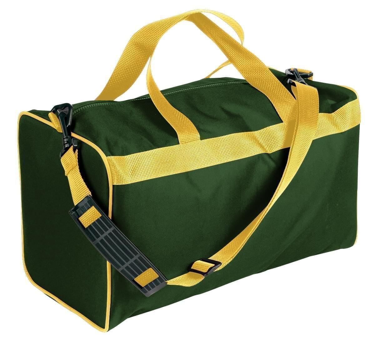 USA Made Nylon Poly Weekend Duffles, Hunter Green-Gold, WLKX31AAS5