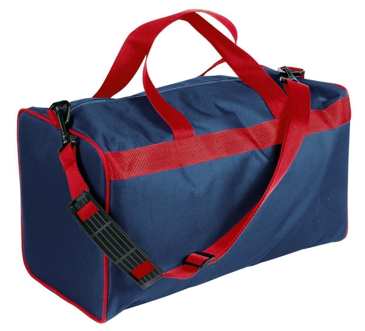 USA Made Nylon Poly Weekend Duffles, Navy-Red, WLKX31AAW2