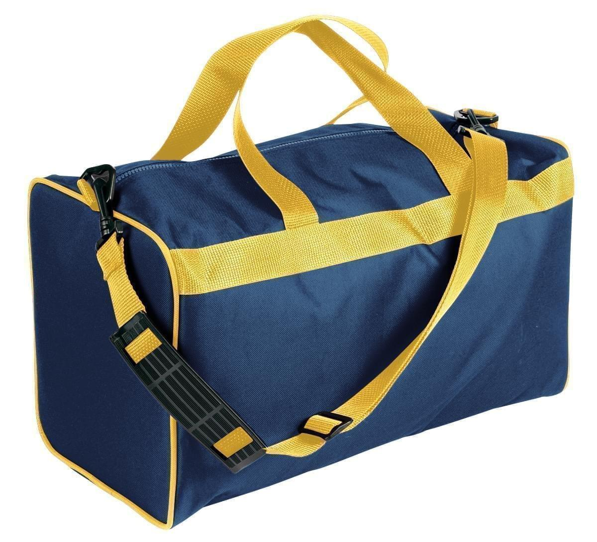 USA Made Nylon Poly Weekend Duffles, Navy-Gold, WLKX31AAW5