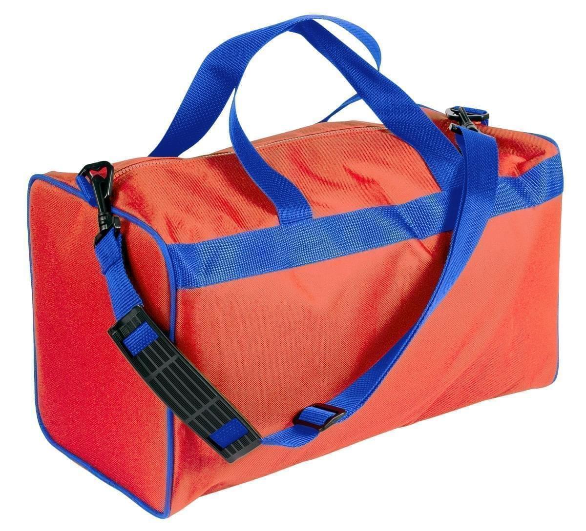 USA Made Nylon Poly Weekend Duffles, Orange-Royal Blue, WLKX31AAX3
