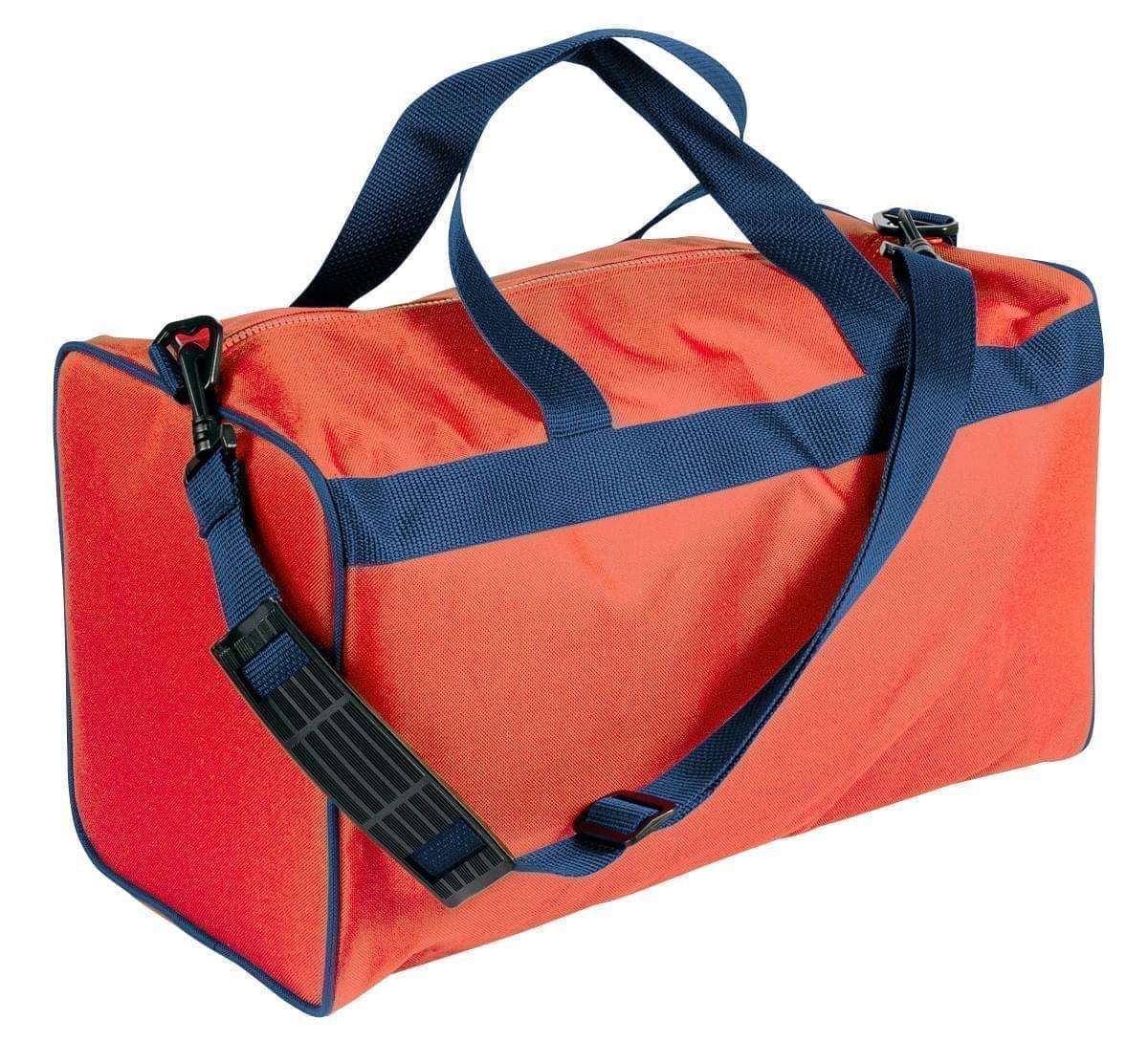 USA Made Nylon Poly Weekend Duffles, Orange-Navy, WLKX31AAXZ