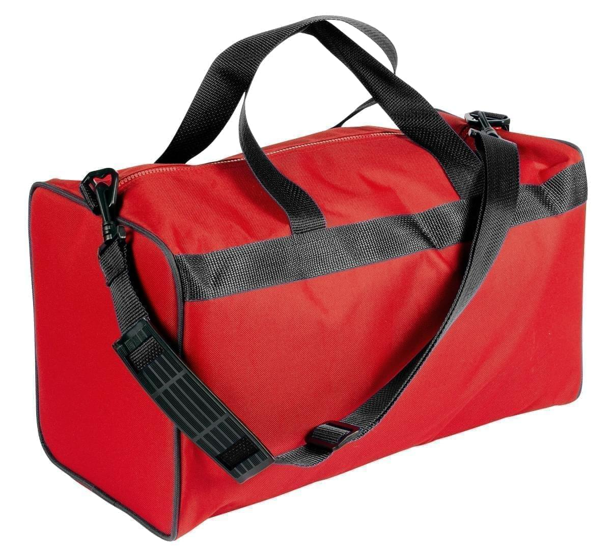 USA Made Nylon Poly Weekend Duffles, Red-Black, WLKX31AAZR