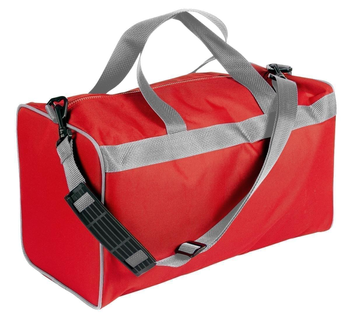 USA Made Nylon Poly Weekend Duffles, Red-Grey, WLKX31AAZU