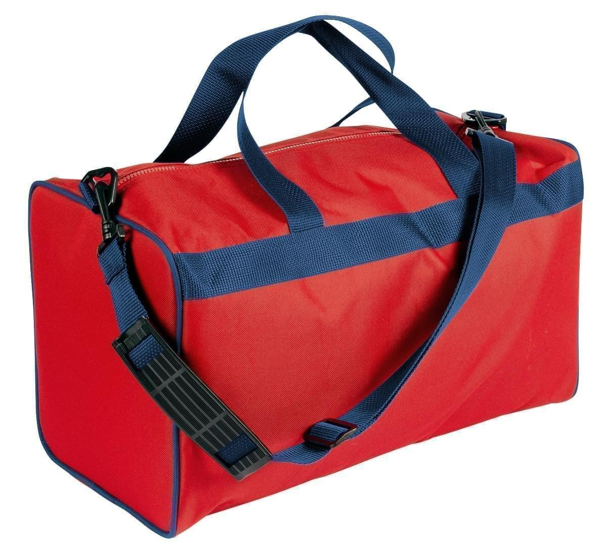 USA Made Nylon Poly Weekend Duffles, Red-Navy, WLKX31AAZZ
