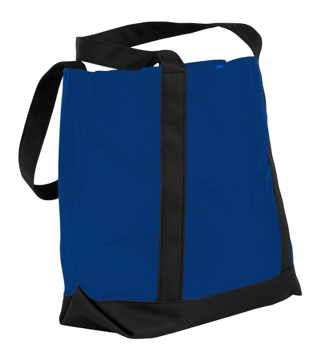 USA Made Nylon Poly Boat Tote Bags, Royal Blue-Black, XAACL1UA0C