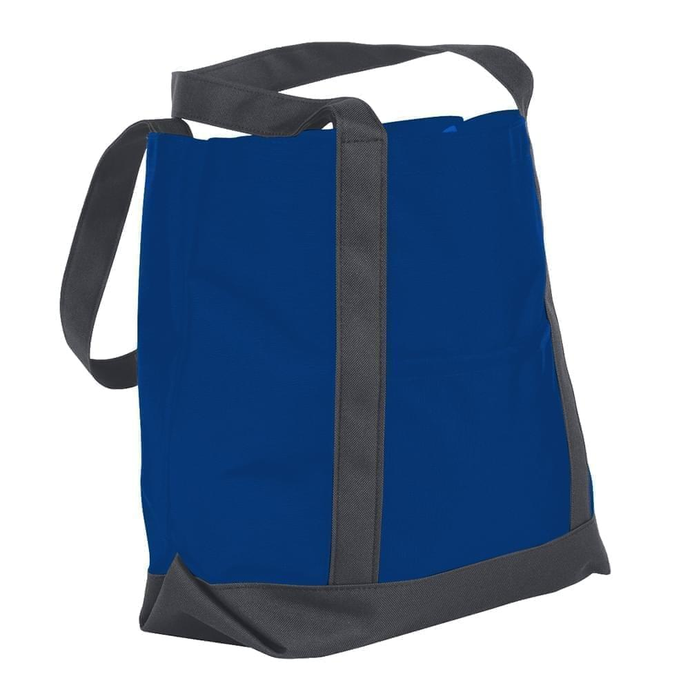 USA Made Nylon Poly Boat Tote Bags, Royal Blue-Graphite, XAACL1UA0F