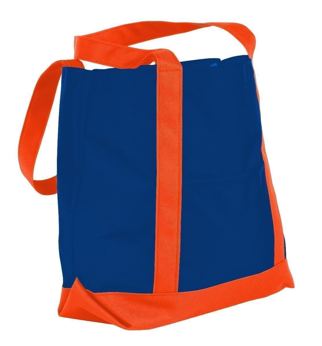 USA Made Nylon Poly Boat Tote Bags, Royal Blue-Orange, XAACL1UA0J