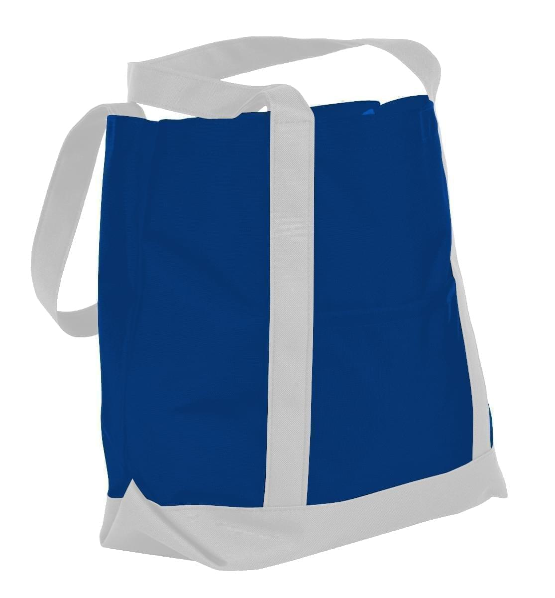 USA Made Nylon Poly Boat Tote Bags, Royal Blue-White, XAACL1UA0P