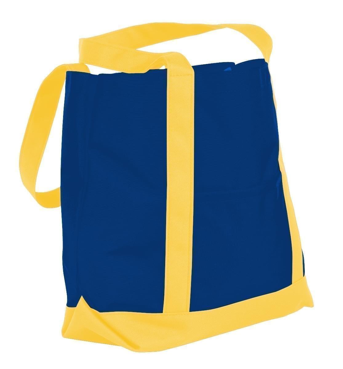 USA Made Nylon Poly Boat Tote Bags, Royal Blue-Gold, XAACL1UA0Q