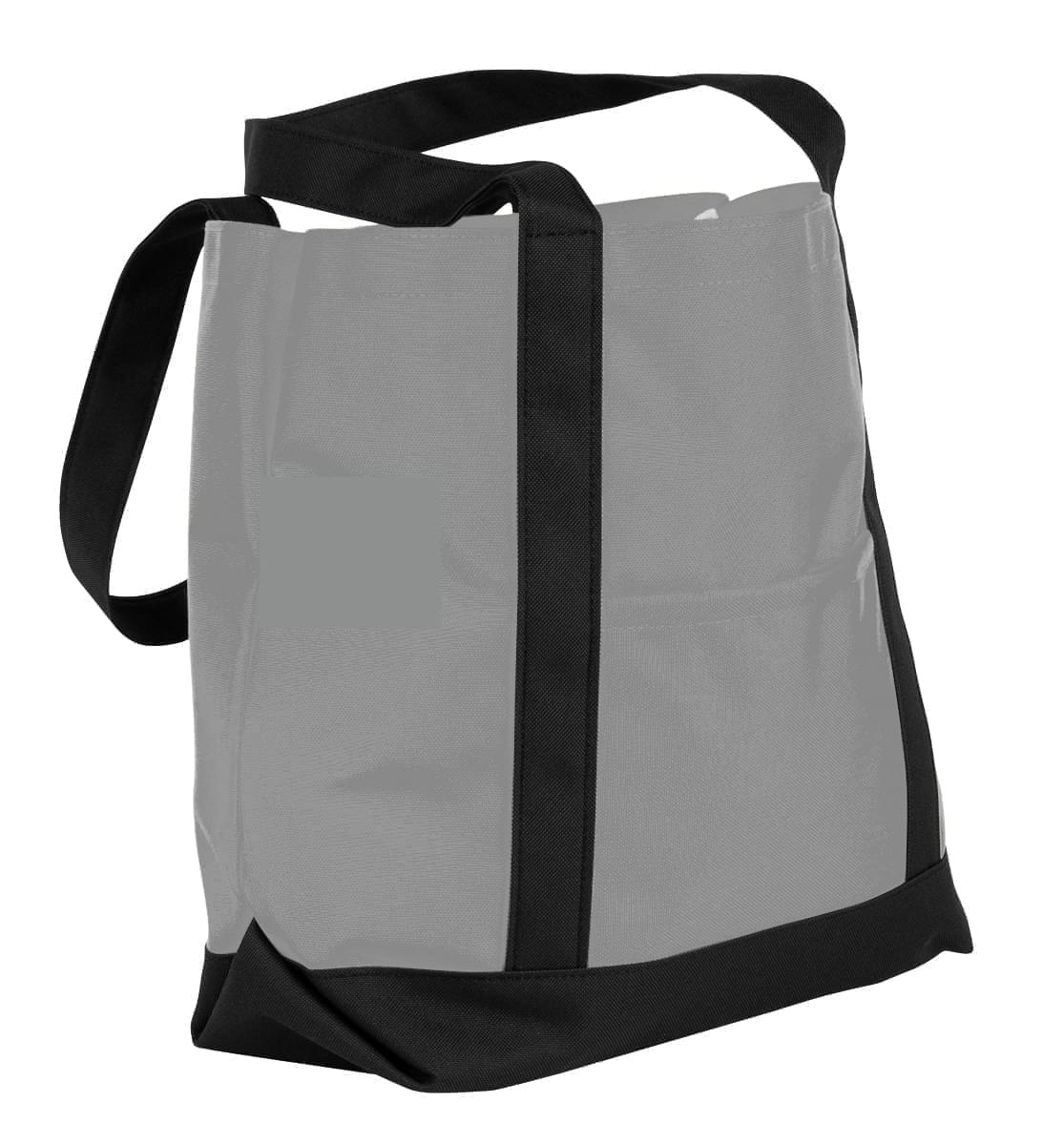 USA Made Nylon Poly Boat Tote Bags, Grey-Black, XAACL1UA1C