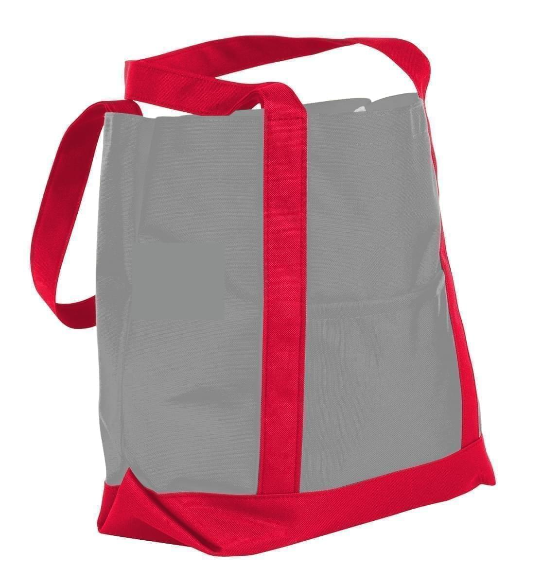 USA Made Nylon Poly Boat Tote Bags, Grey-Red, XAACL1UA1L