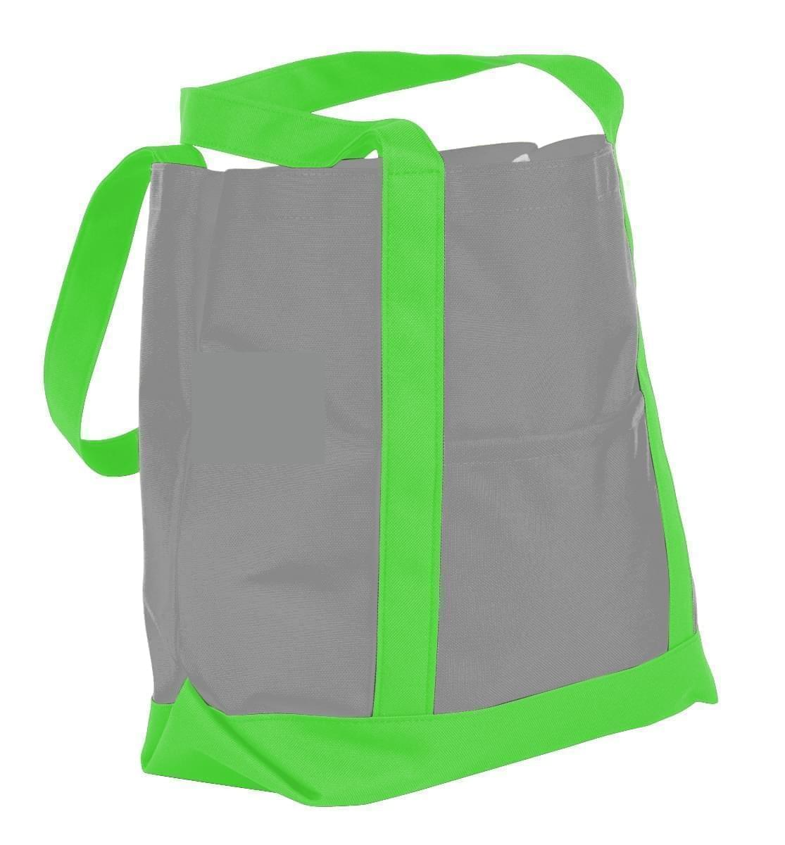 USA Made Nylon Poly Boat Tote Bags, Grey-Lime, XAACL1UA1Y