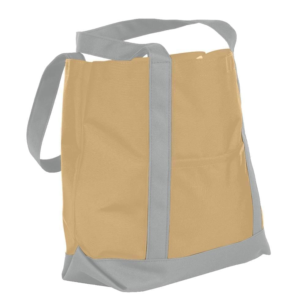 USA Made Nylon Poly Boat Tote Bags, Khaki-Grey, XAACL1UA2N
