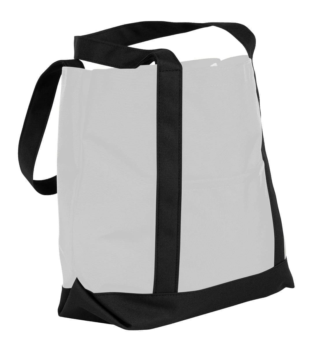 USA Made Nylon Poly Boat Tote Bags, White-Black, XAACL1UA3C