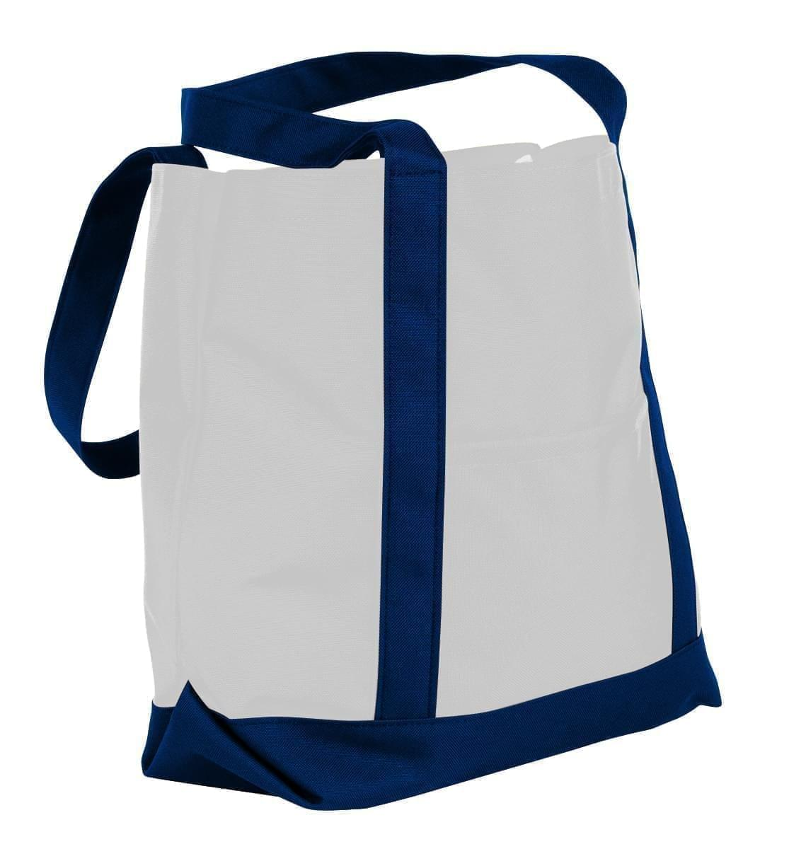 USA Made Nylon Poly Boat Tote Bags, White-Navy, XAACL1UA3I