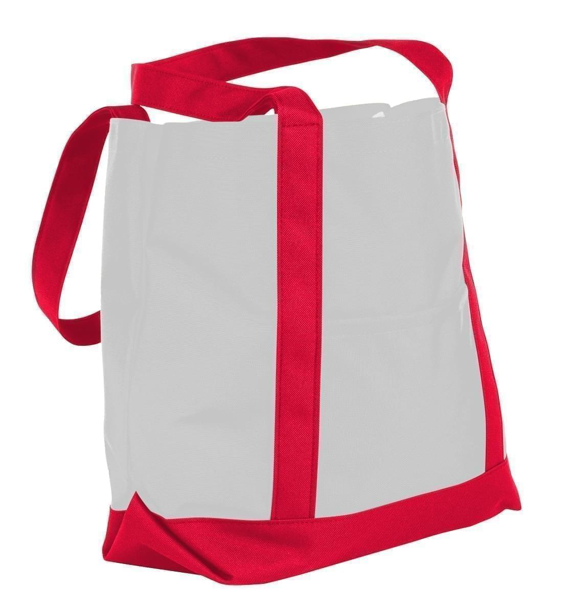 USA Made Nylon Poly Boat Tote Bags, White-Red, XAACL1UA3L