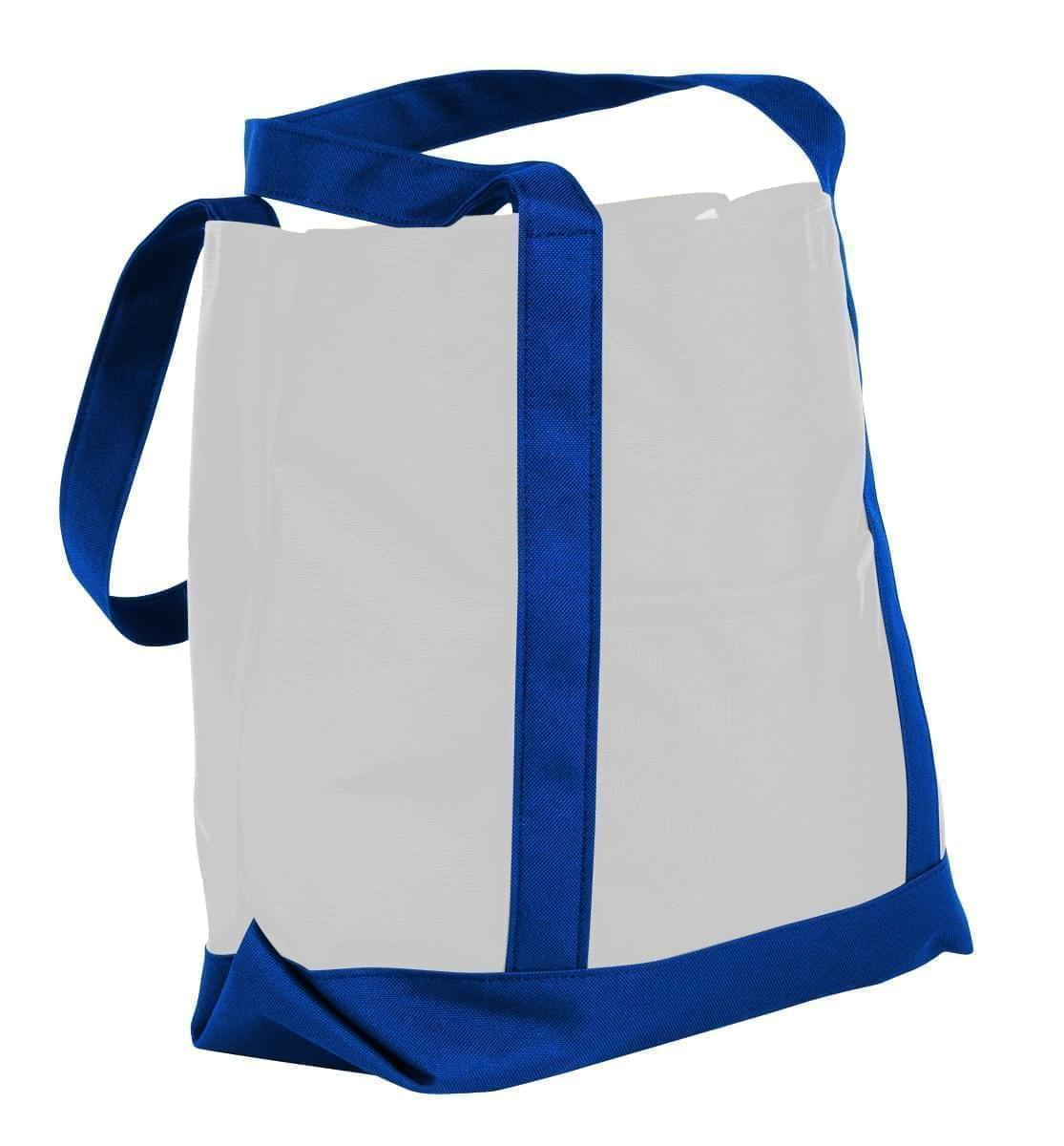 USA Made Nylon Poly Boat Tote Bags, White-Royal Blue, XAACL1UA3M