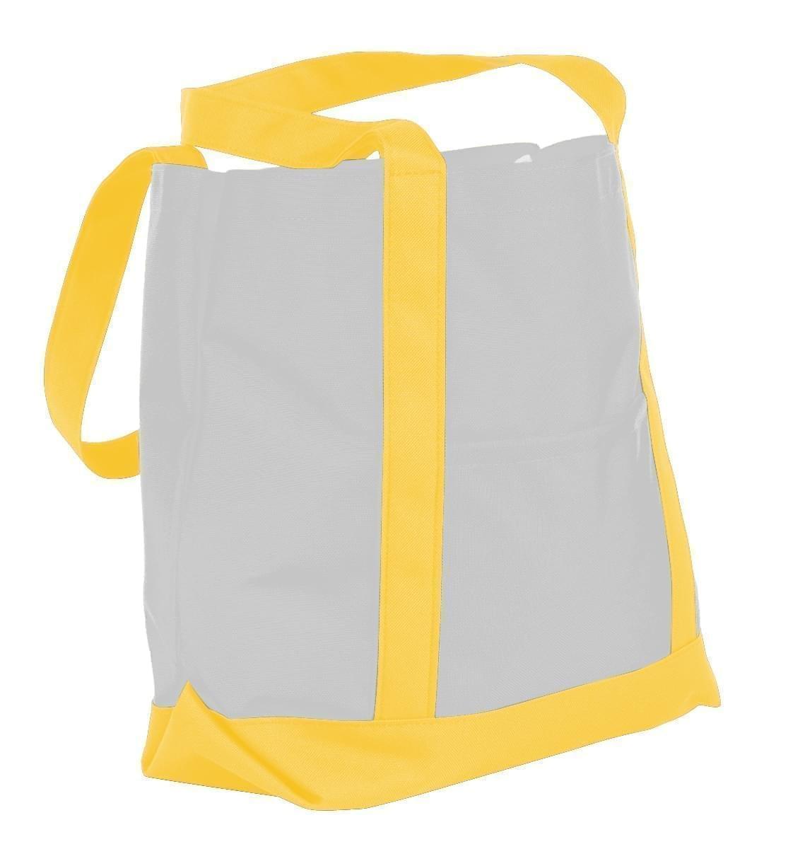 USA Made Nylon Poly Boat Tote Bags, White-Gold, XAACL1UA3Q