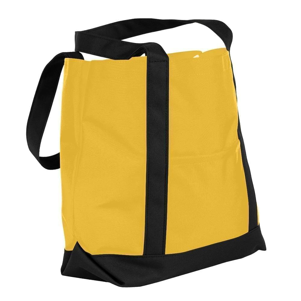 USA Made Nylon Poly Boat Tote Bags, Gold-Black, XAACL1UA4C