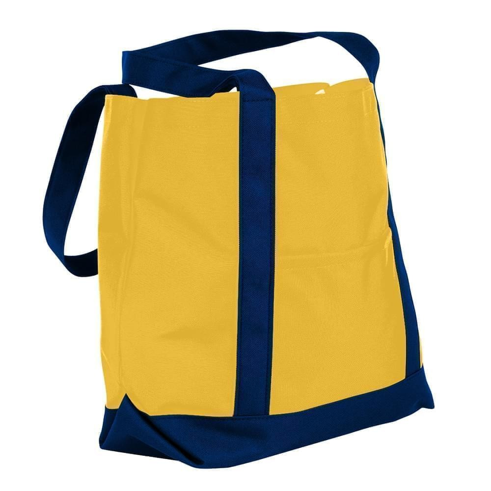 USA Made Nylon Poly Boat Tote Bags, Gold-Navy, XAACL1UA4I