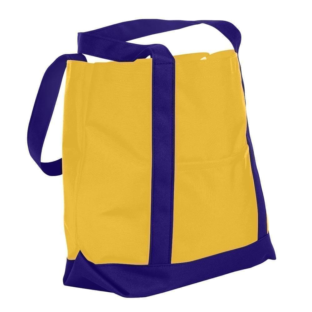 USA Made Nylon Poly Boat Tote Bags, Gold-Purple, XAACL1UA4K
