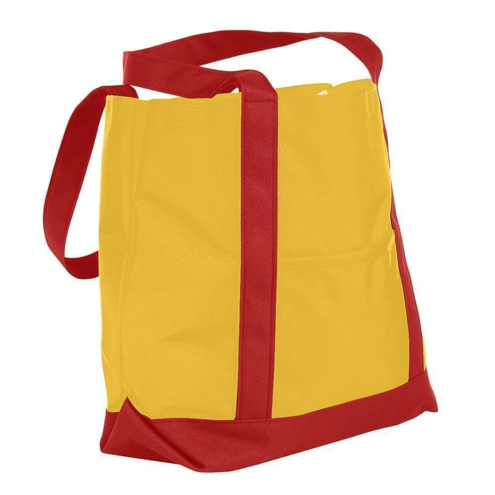 USA Made Nylon Poly Boat Tote Bags, Gold-Red, XAACL1UA4L