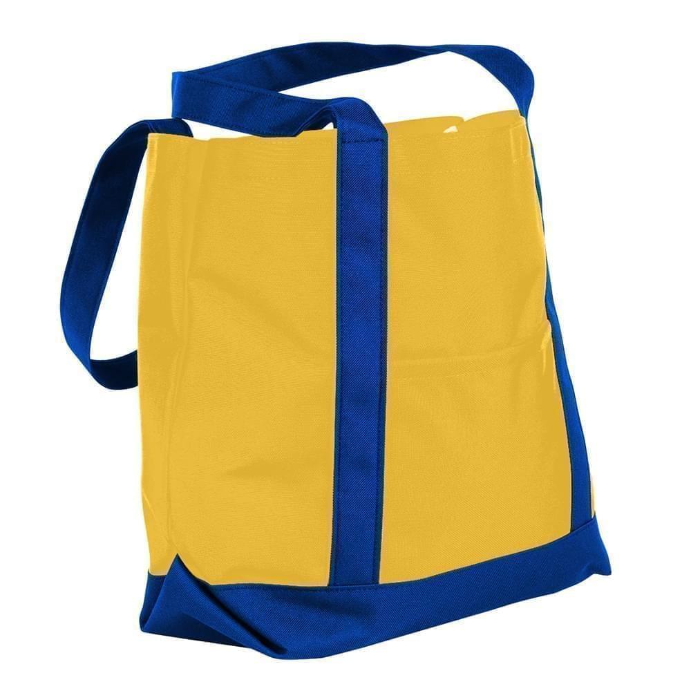 USA Made Nylon Poly Boat Tote Bags, Gold-Royal Blue, XAACL1UA4M