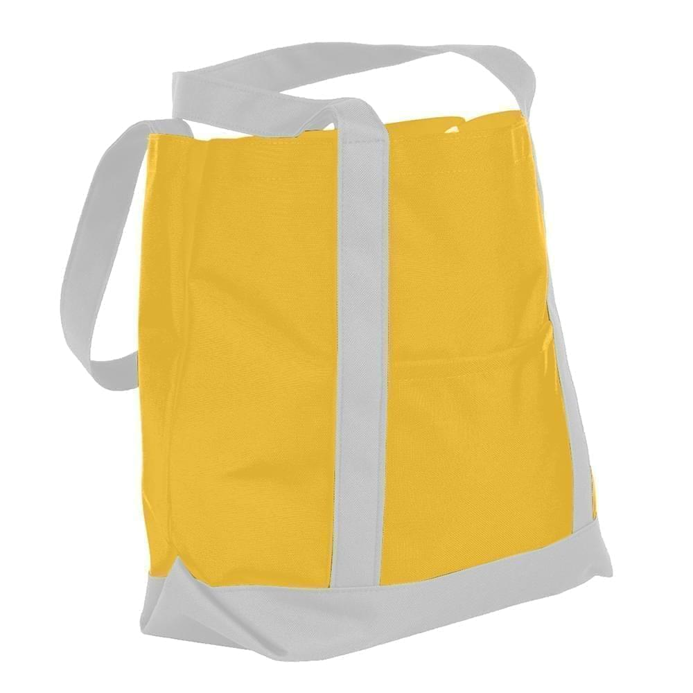 USA Made Nylon Poly Boat Tote Bags, Gold-White, XAACL1UA4P