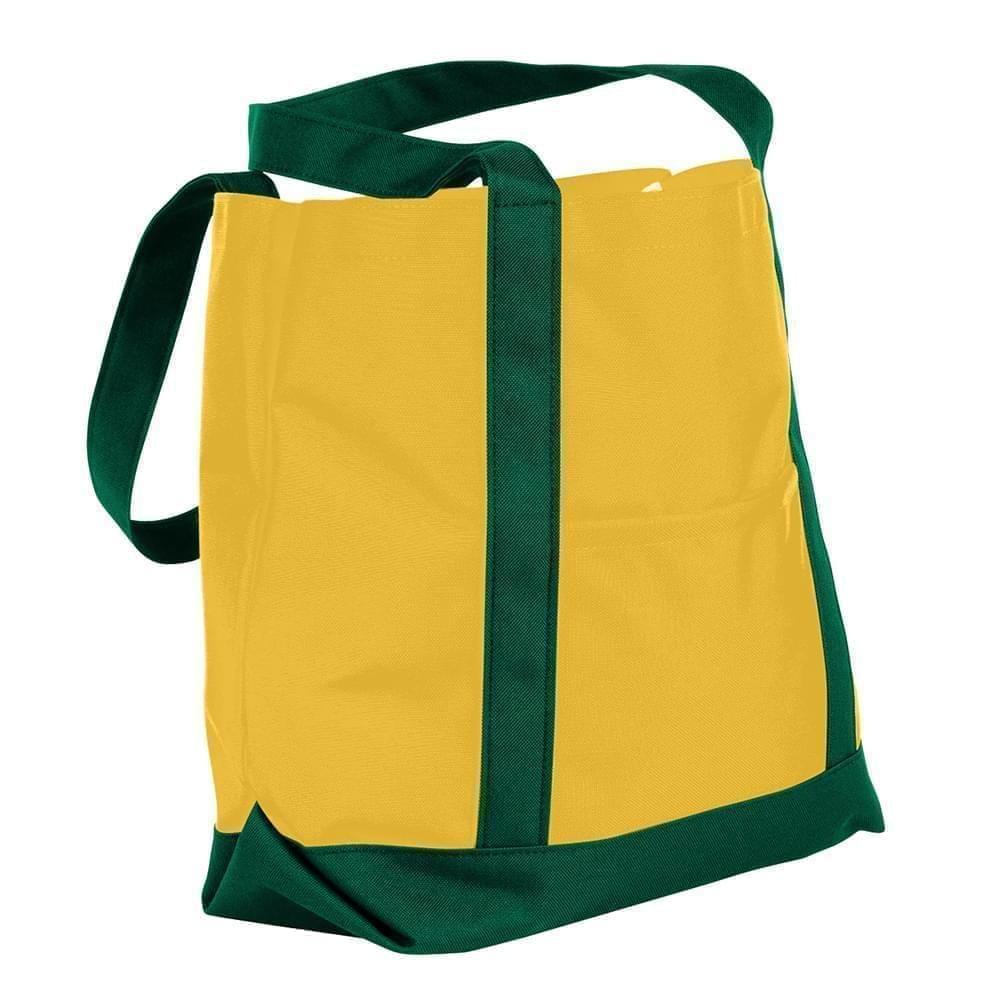 USA Made Nylon Poly Boat Tote Bags, Gold-Hunter Green, XAACL1UA4V