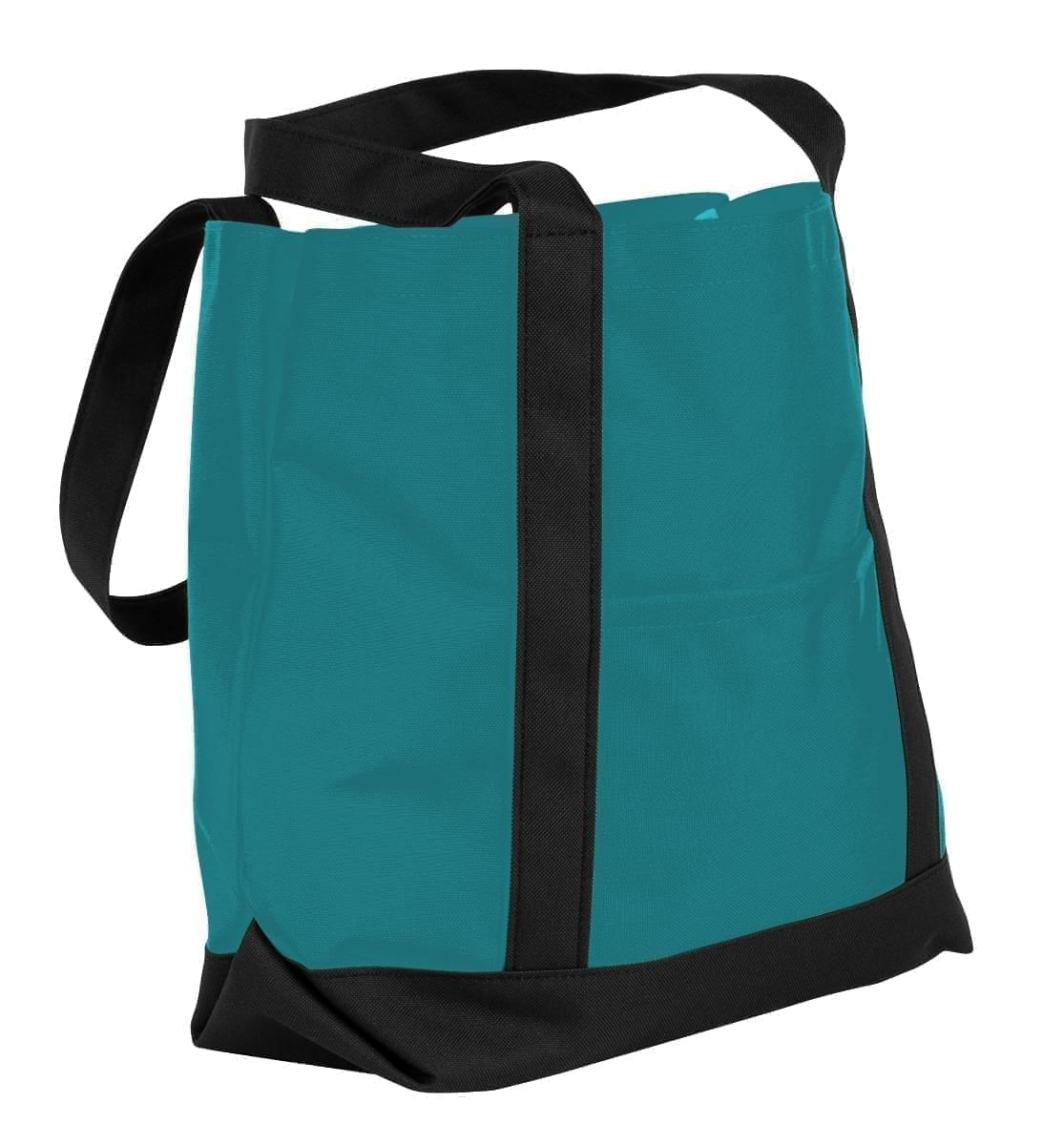 USA Made Nylon Poly Boat Tote Bags, Turquoise-Black, XAACL1UA9C