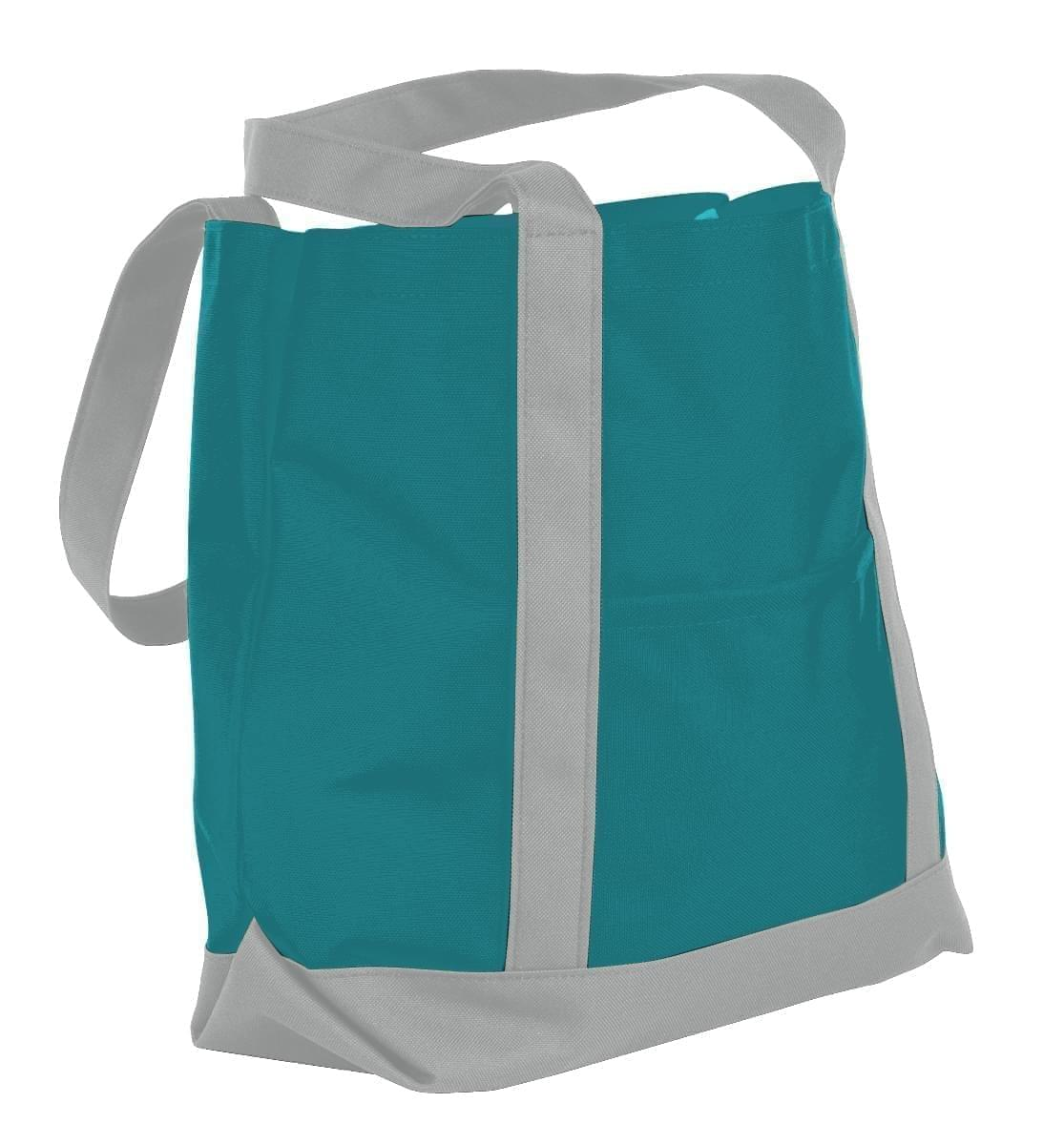 USA Made Nylon Poly Boat Tote Bags, Turquoise-Grey, XAACL1UA9N