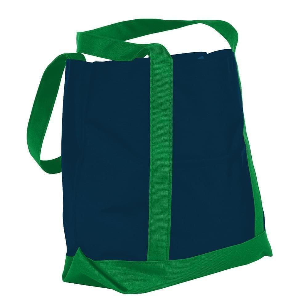 USA Made Canvas Fashion Tote Bags, Navy-Kelly Green, XAACL1UACH