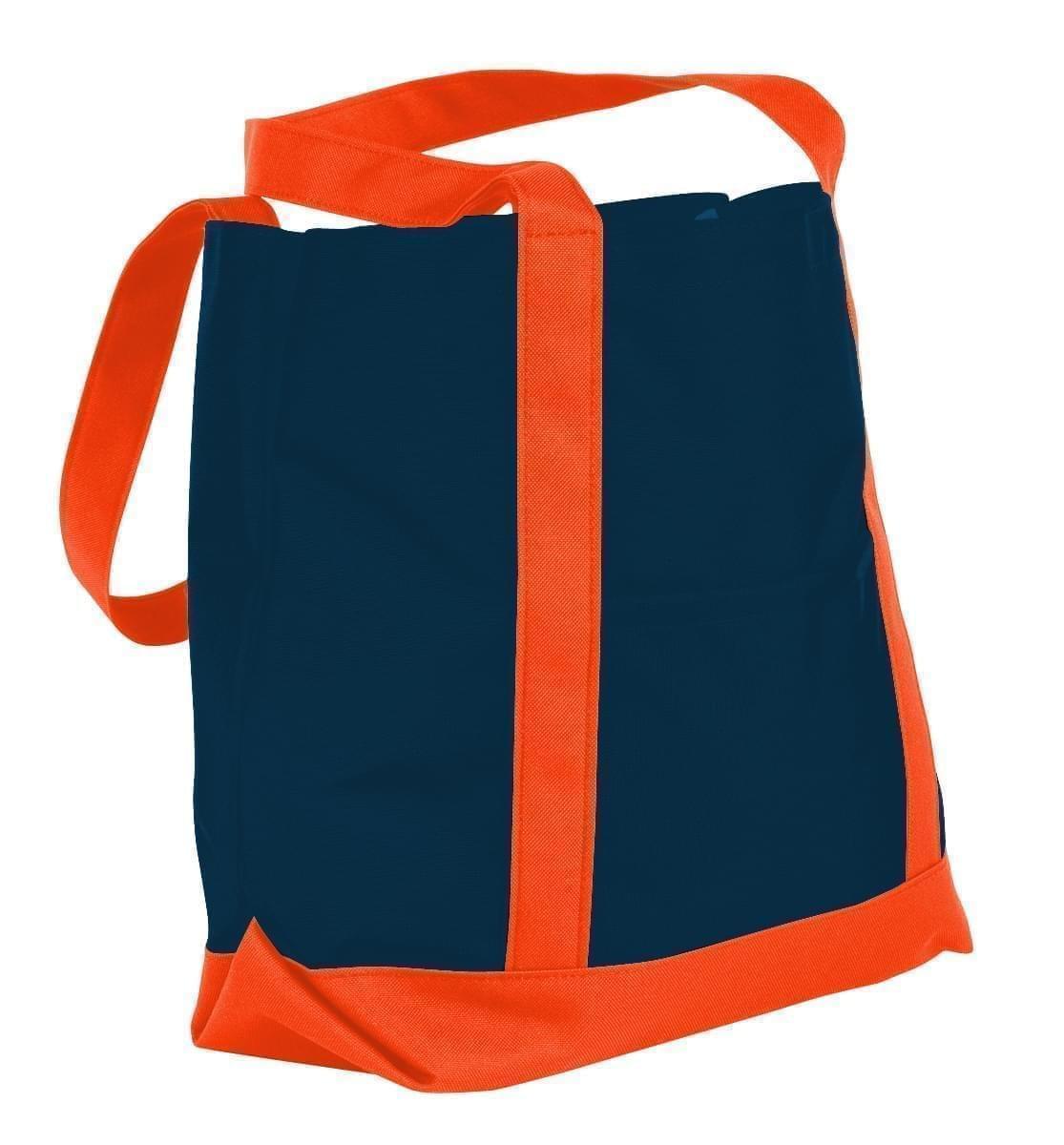USA Made Canvas Fashion Tote Bags, Navy-Orange, XAACL1UACJ